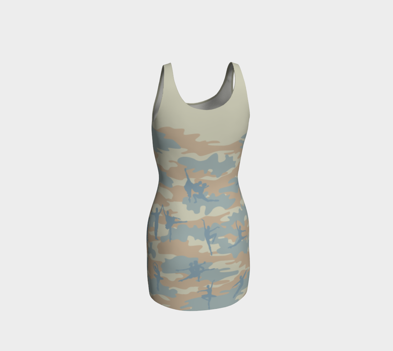 Camo Tank Dresses in beige, peach, and pale blue. Three quarter back view of Ballet 1 Camo