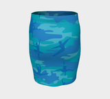Pencil Skirt | Ballet Camo | In Blues and aquas. Back view.