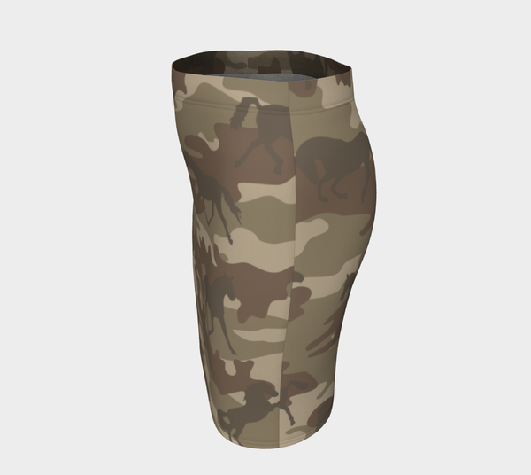 Pencil Skirt | Horses | In Brown - Mask Brand Camo Camouflage Design Clothing, Bags and Accessories