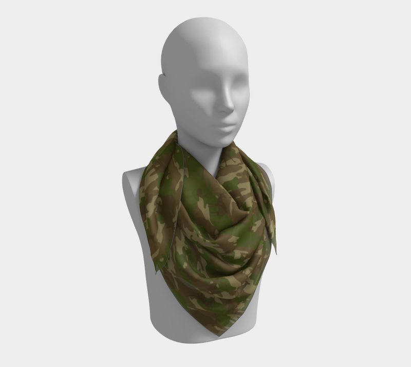 Hunter Camo Scarf | Square | In browns and green. This mannikin is wearing the 36x36 inch size scarf.