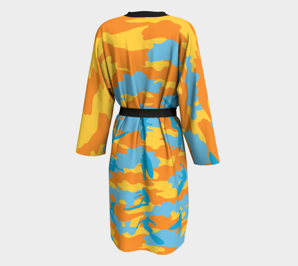 Peignoir Robe, Surf pattern, yellow, orange and aqua. Back view.