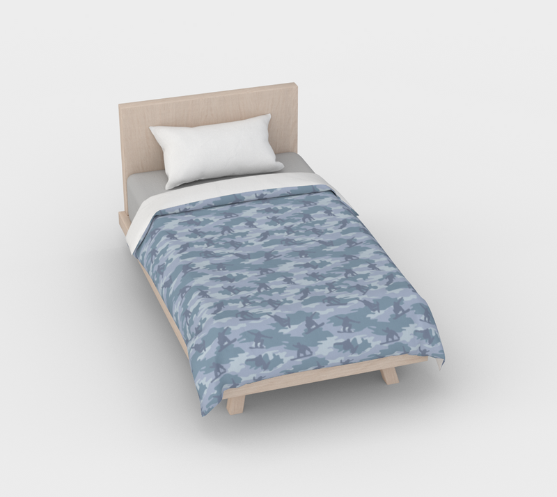 Duvet Cover in Snowboard Camo, in light grays, for twin size bed.