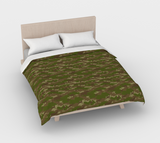 Duvet Cover in Hunter Camo, in green and browns, for queen size bed.