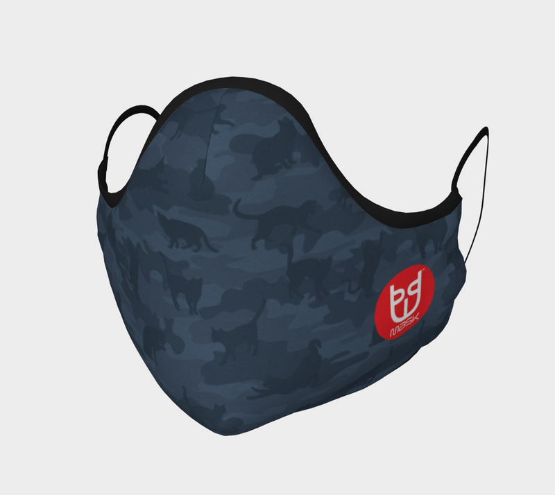 Cotton Face Mask | Cats Camo | Dark Grays - Mask Brand Camo Camouflage Design Clothing, Bags and Accessories