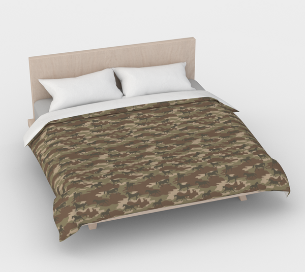Duvet Cover in Horses Camo, in browns, for king size bed.