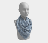 Snowboard Camo Scarf | Square | In light grays. This mannikin is wearing the 36x36 inch size scarf.