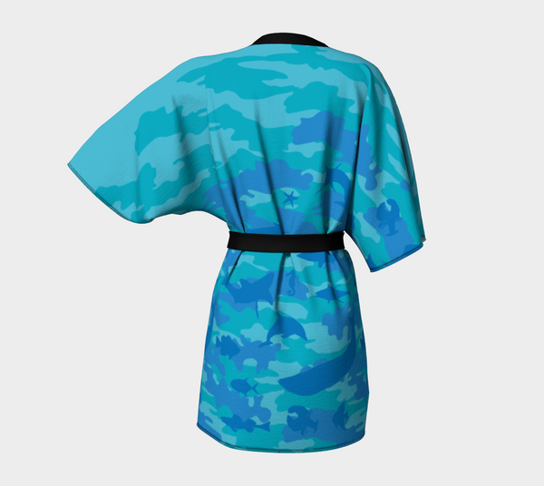 Kimono Robe | Ocean | Aquas and Blues - Mask Brand Camo Camouflage Design Clothing, Bags and Accessories