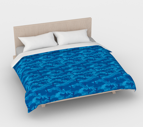 Duvet Cover in Gymnastic Camo, in blues, for king size bed.