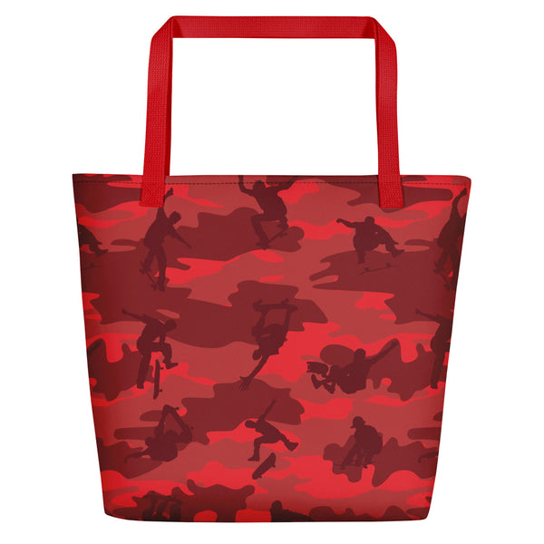 Large Tote | Skateboard Camo | In Reds.