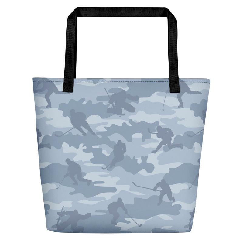 Large Tote | Hockey Camo | In Light Grays.