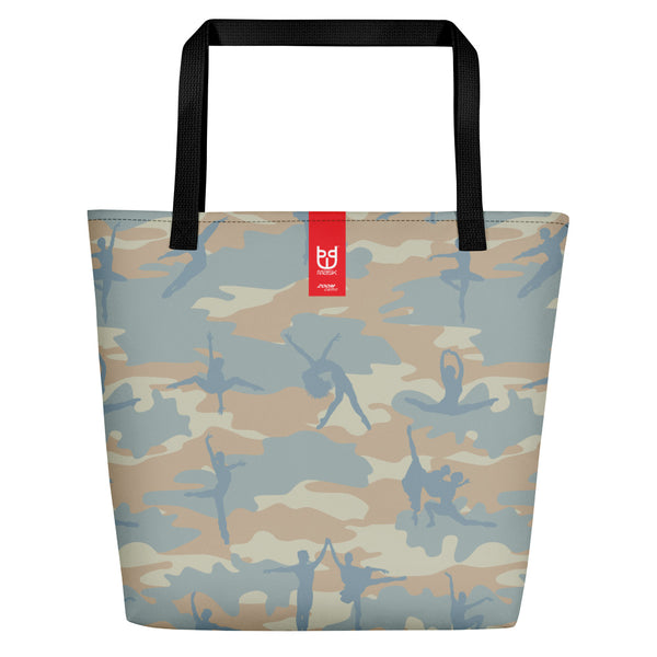 Large Camo Tote | Ballet | In beige, peach, and pale blue. Product tag seen.