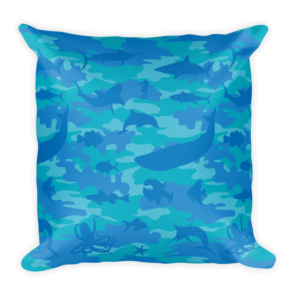 Camo Pillow | Ocean | In Blues and Aqua - Mask Brand Camo Design Clothing, Bags and Accessories