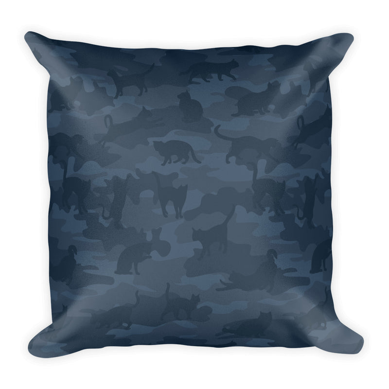 Camo Pillow | Cats | In Dark Grays - Back view