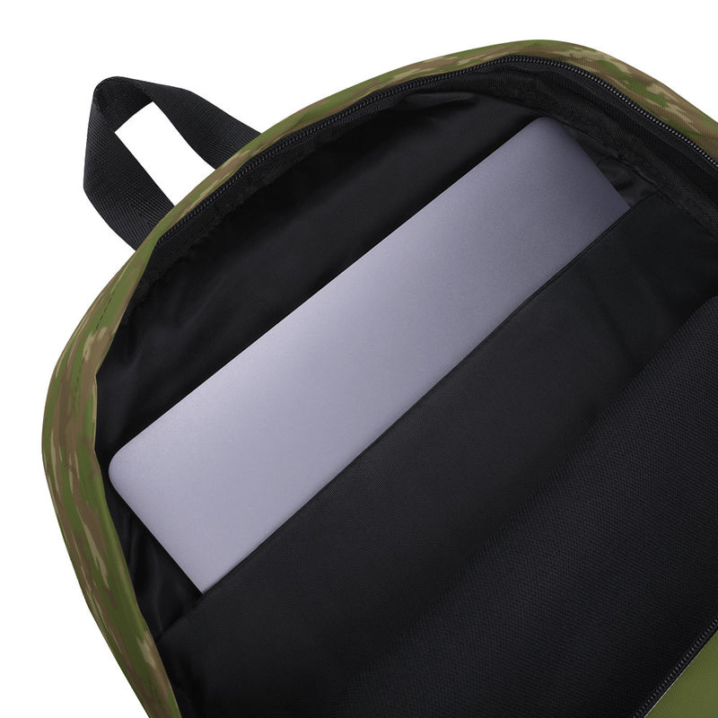 Camo Hunter Backpack in browns and green, inner padded laptop sleeve.