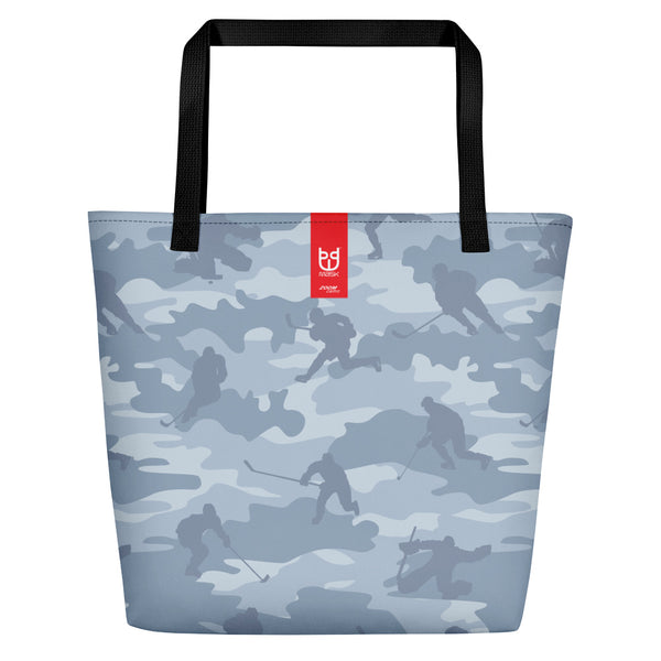 Large Tote | Hockey Camo | In Light Grays. Branding shown.