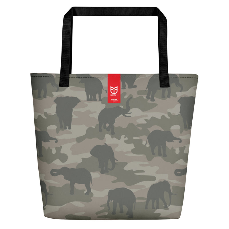 Large Tote | Elephants Camo | In Grays. Branding shown.