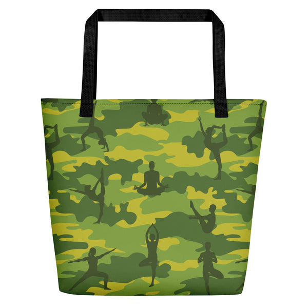 Camo Large Tote | Yoga | In Tropical Greens - Mask Brand Camo Design Clothing, Bags and Accessories