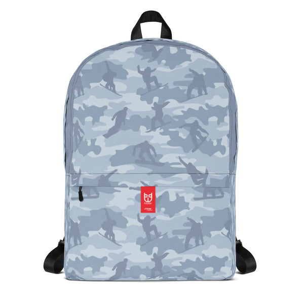 Camo Backpack | Snowboard | In Light Grays. Front view.