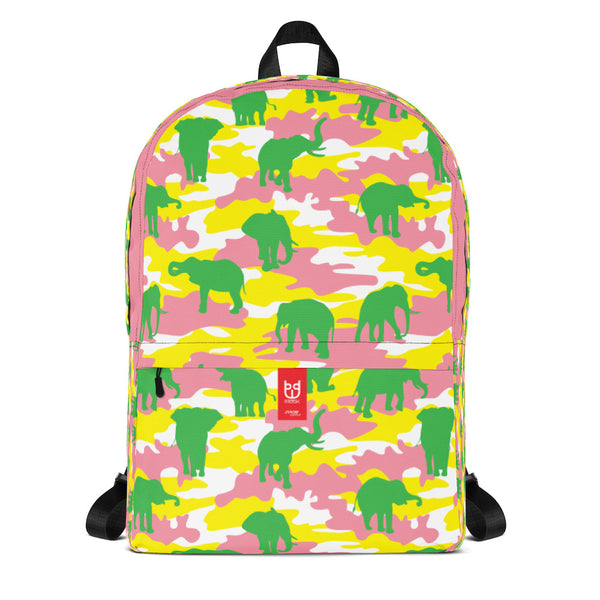 Camo Backpack | Elephants | In Pink, Yellow, and Green. Front view.