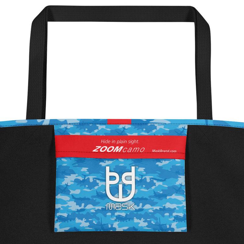 Camo Large Tote | Planes | In Blues - Mask Brand Camo Design Clothing, Bags and Accessories