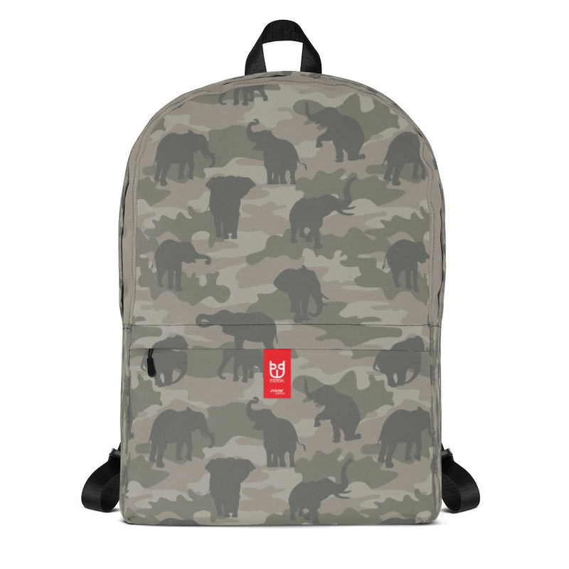 Camo Elephants Backpack in grays. Facing view.