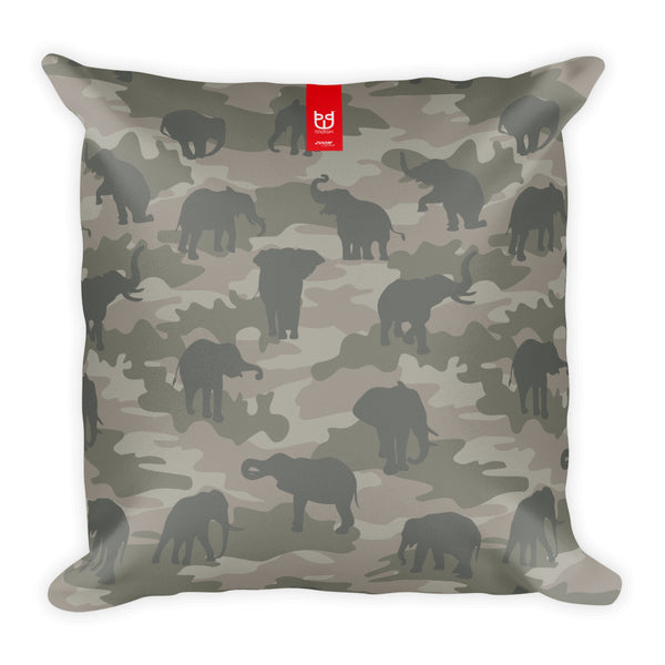 Camo Pillow | Elephants 1 | In Grays - Mask Brand Camo Design Clothing, Bags and Accessories