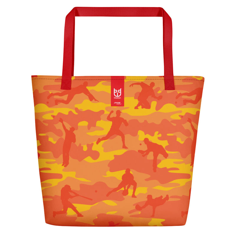 Large Tote | Baseball Camo | In Orange  Branding shown.