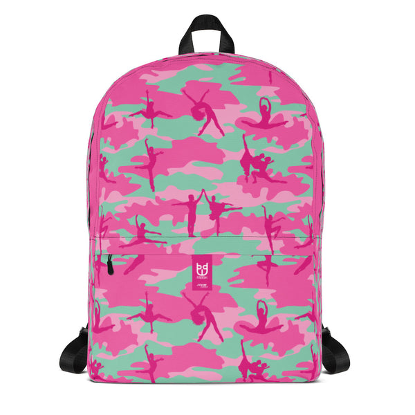 Camo Backpack | Ballet | In Pinks and Pale Blue. Front view.