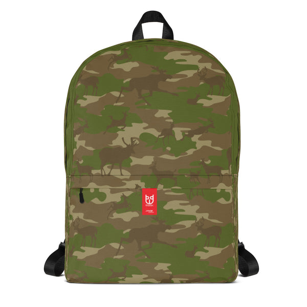Camo Backpack | Hunter | In Browns and Green. Front view.