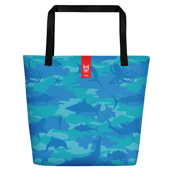 Large Tote | Ocean Camo | In Blues and Aquas. Branding shown.