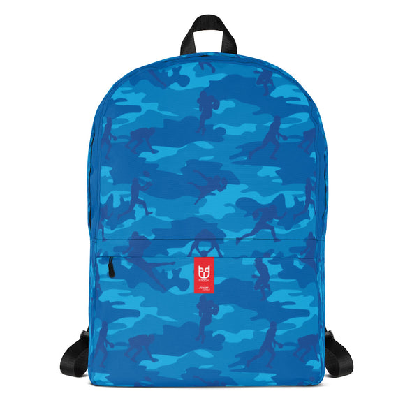 Camo Backpack | Football | In Blues. Front view.