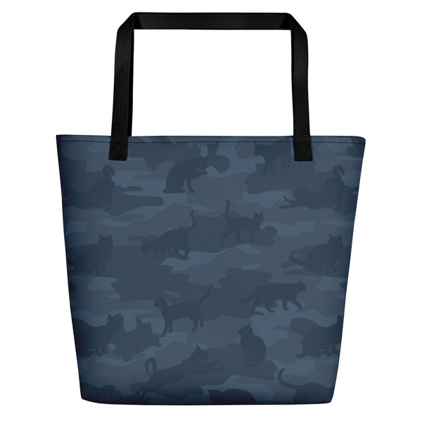 Large Tote | Cats Camo | In Dark Grays.