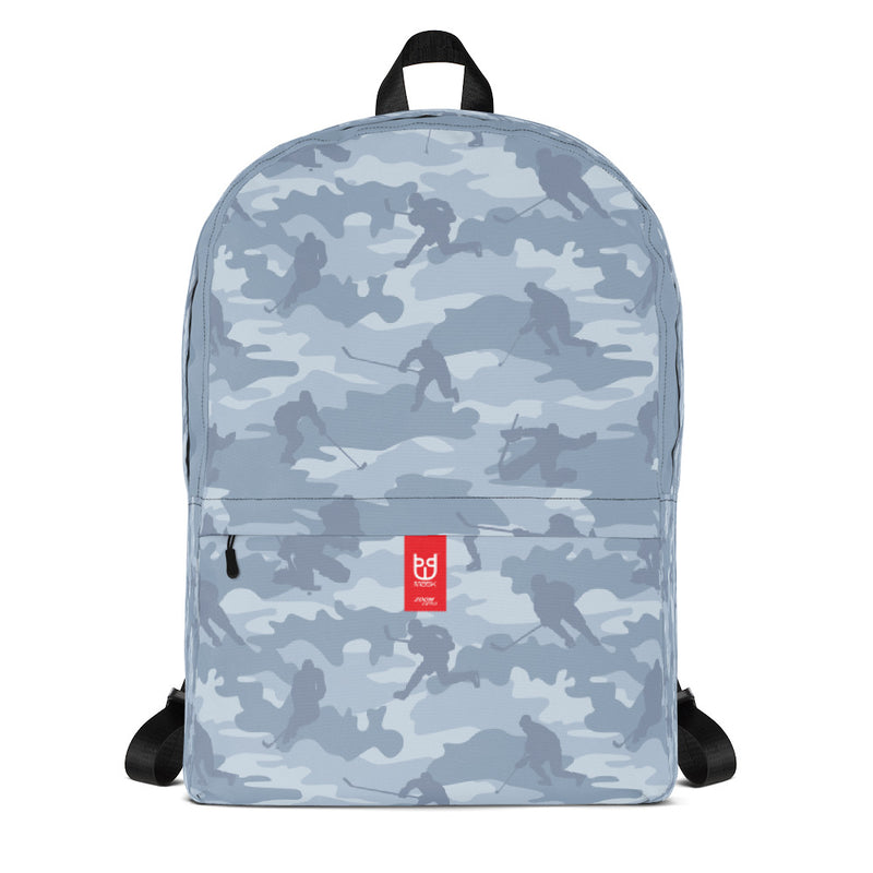 Camo Backpack | Hockey | In Light Grays - Front view