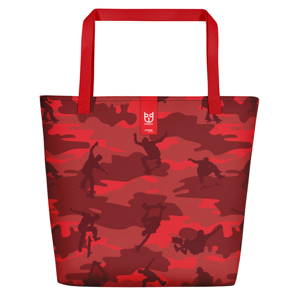 Large Tote | Skateboard Camo | In Reds. Branding shown.