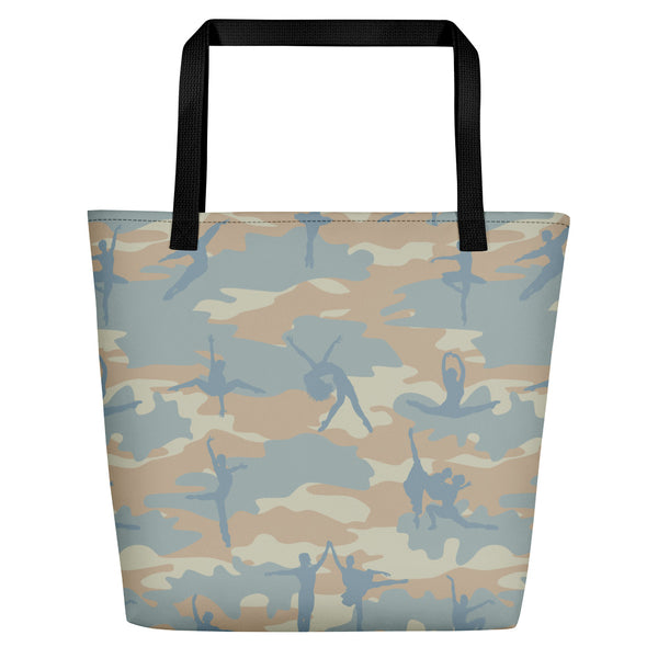 Large Camo Tote | Ballet | In beige, peach and pale blue.