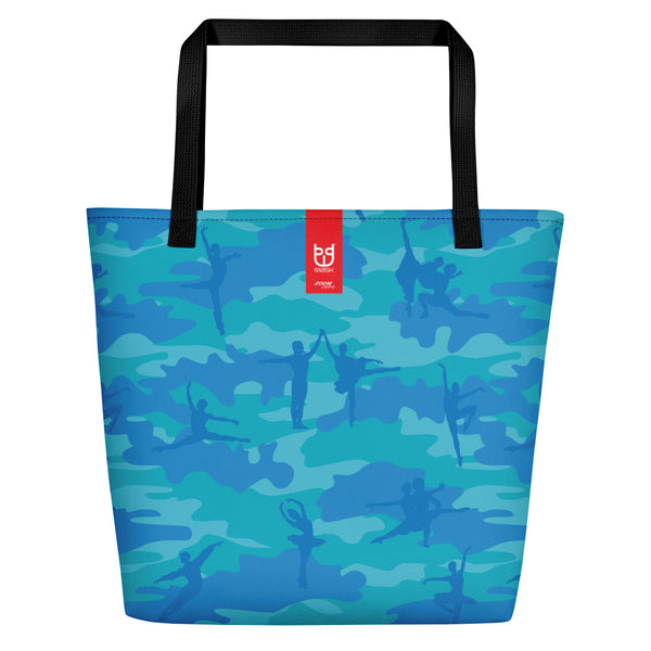 Large Tote | Ballet Camo | In Blue and Aqua  with Brand tag