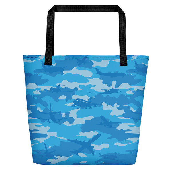 Large Tote | Planes Camo | In Blues