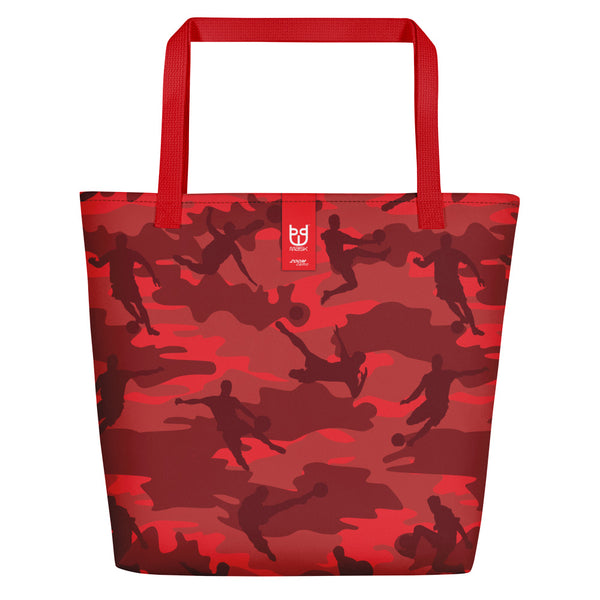 Large Tote | Soccer Camo | In Reds and Black  Branding shown.