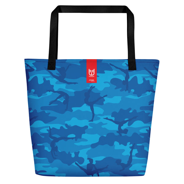 Large Tote | Gymnastics Camo | In Blues. Branding shown.