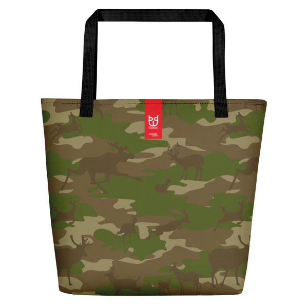 Large Tote | Hunter Camo | In Browns and Green. Branding shown.