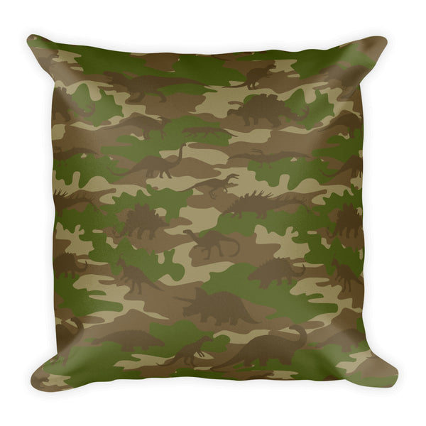 Camo Pillow | Dinosaur 1 | In Browns and Green - Mask Brand Camo Design Clothing, Bags and Accessories