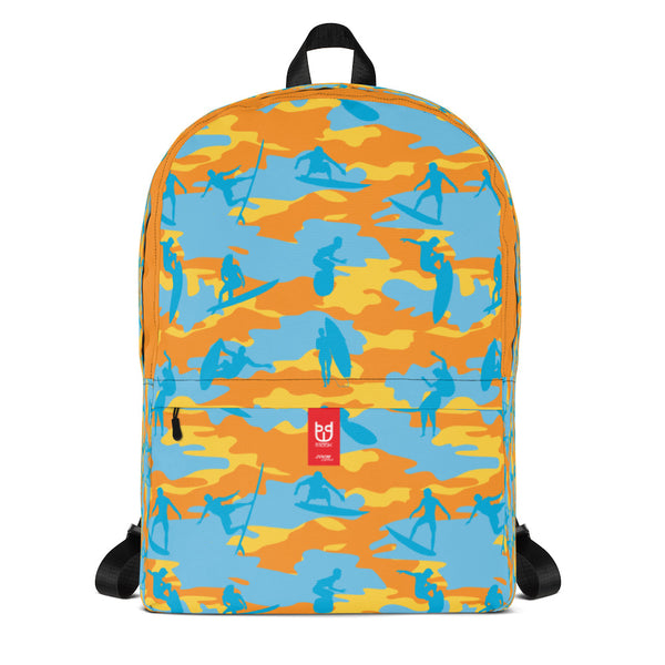 Camo Backpack | Surf | In Yellow, Orange and Aquas. Front view.