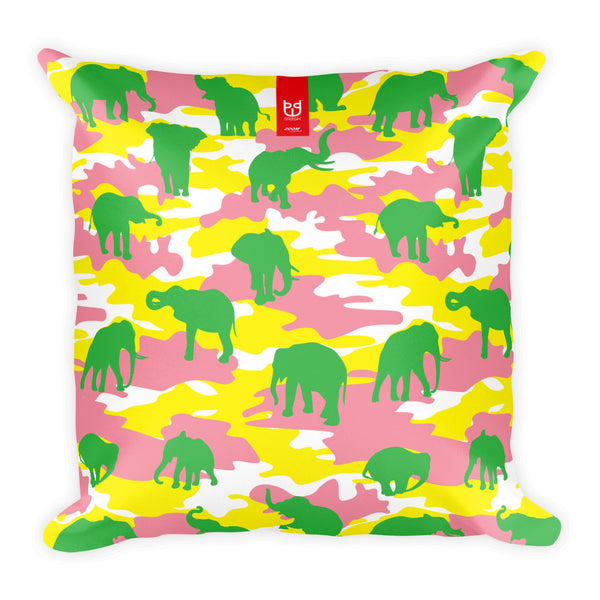 Camo Pillow | Elephants 3 | In Yellow, Pink, and Green - Mask Brand Camo Design Clothing, Bags and Accessories