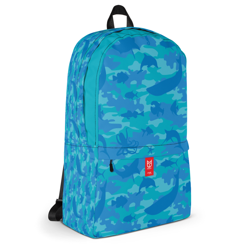 Camo Backpack | Ocean | In Blues and Aquas. 3/4 view.