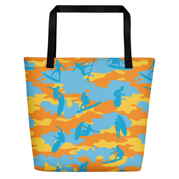 Large Tote | Surf Camo | In Yellow, Orange, and Aquas