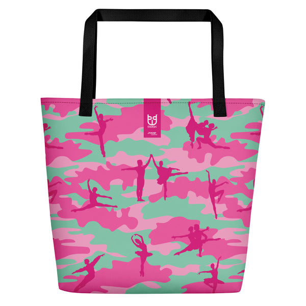 Large Tote | Ballet Camo | In Pinks and Pale Blue. Brand tag is displayed.