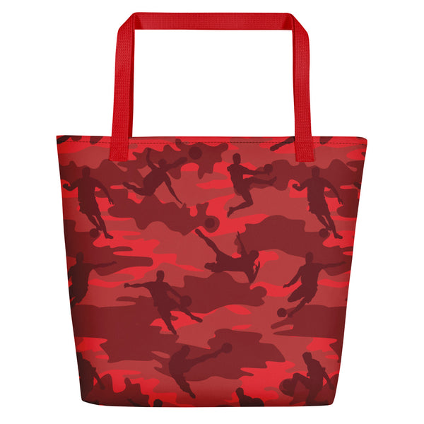 Large Tote | Soccer Camo | In Reds and Black