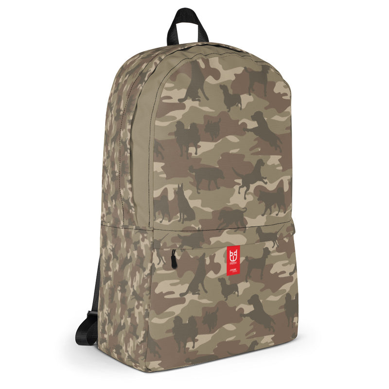 Camo Dogs Backpack In Browns. 3/4 view