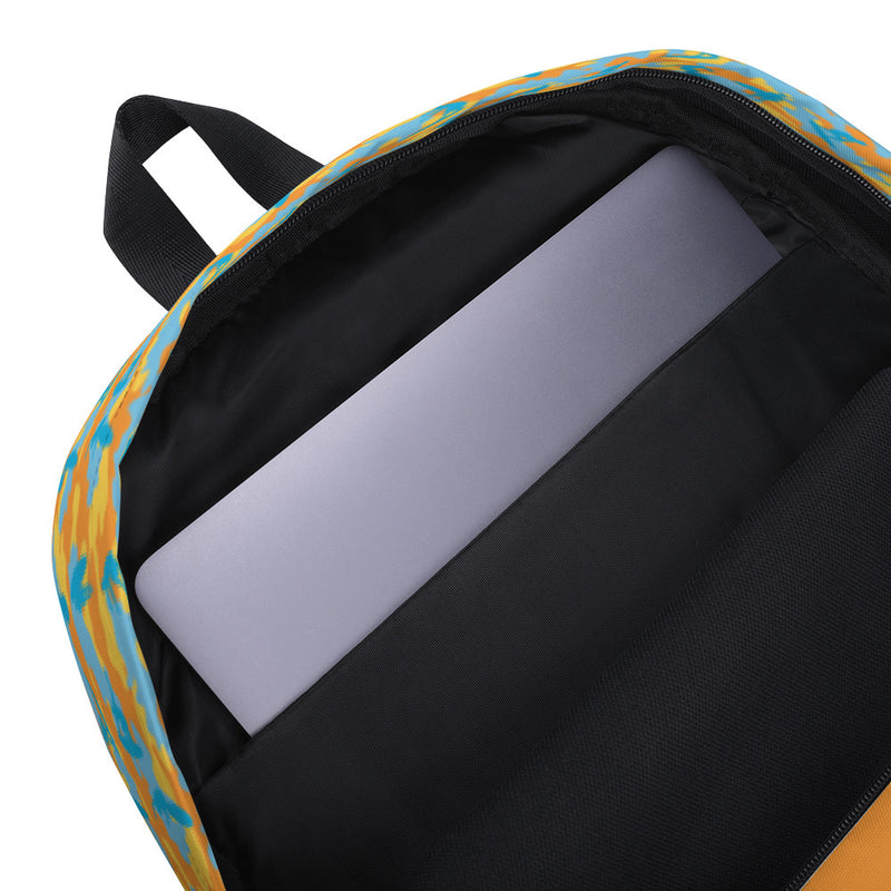 Camo Backpack | Surf | In Yellow, Orange and Aquas. Inner, padded laptop sleeve.