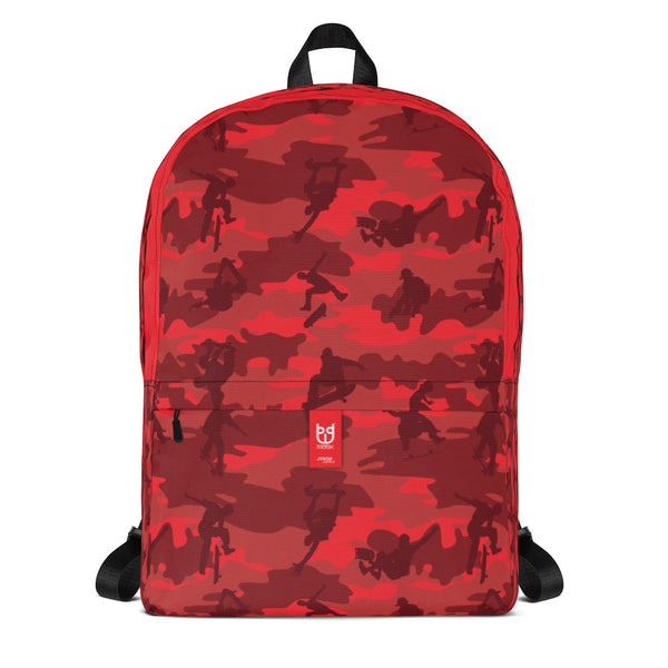 Camo Backpack | Skateboard | In Reds. Front view.